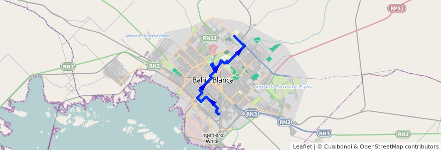 Mapa del recorrido troncal de la línea 503 en Bahía Blanca.