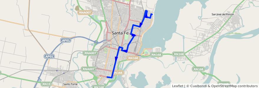 Mapa del recorrido unica de la línea 8 en Santa Fe.