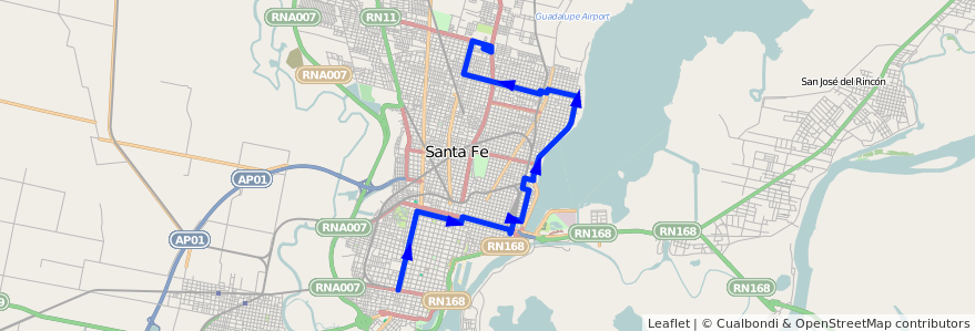 Mapa del recorrido unico de la línea 16 en Santa Fe.