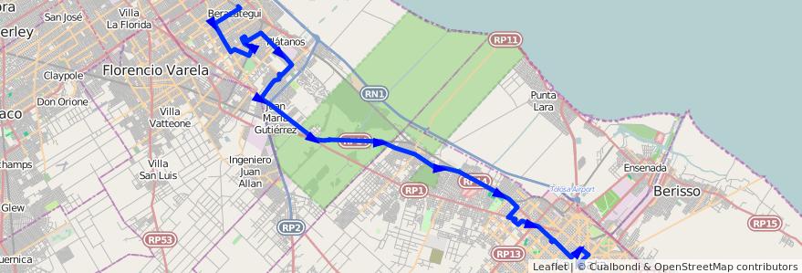 Mapa del recorrido unico de la línea 418 en Buenos Aires.