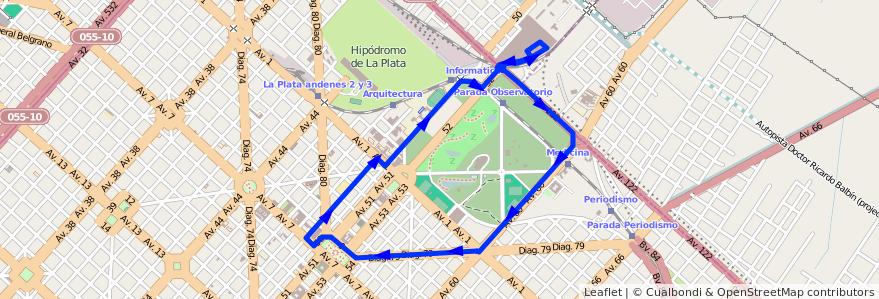 Mapa del recorrido Unico de la línea UTE en La Plata.