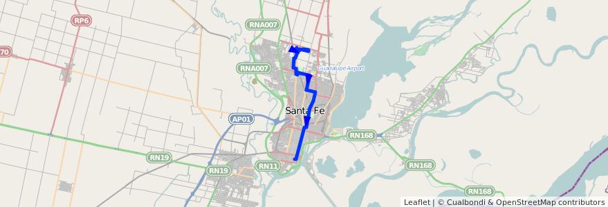 Mapa del recorrido unico de la línea 11 en Santa Fe.