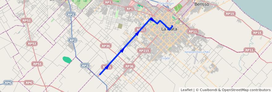 Mapa del recorrido unico de la línea 561 en Partido de La Plata.