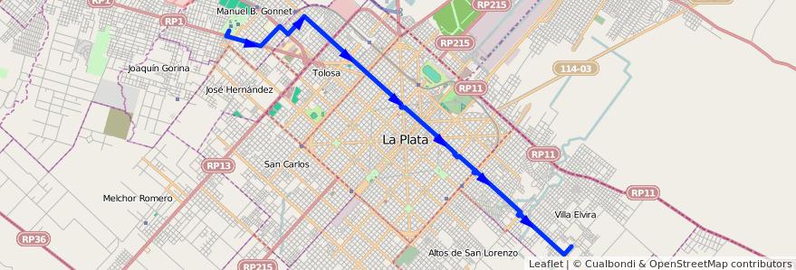 Mapa del recorrido unico de la línea 518 en Partido de La Plata.